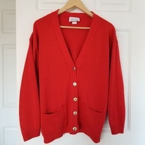 Red Knit Vintages Sweater with Gold Buttons